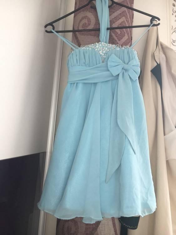 Verlobungskleid Hochzeitskleid Hennakleid Ballkleid hellblau blau Glitzer