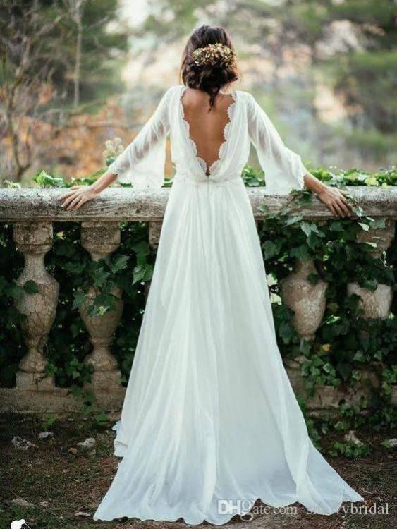 Großhandel 2017 Günstige 2 Stück Weiß Boho Hochzeitskleid Hohe Qualität  Chiffon Spitze Sommer Strand Bohemian Long Sleeves Bridal Party Kleider  Plus Größe