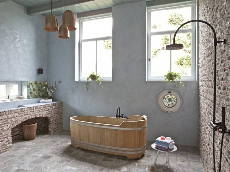 holz im badezimmer landhausstil bad fr entspannende rustic