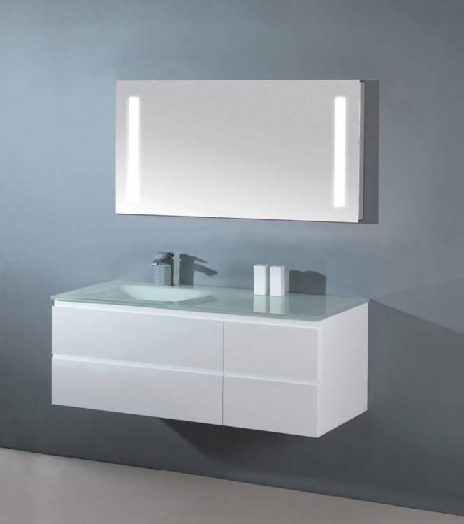 Vorschau: Design Badezimmermöbel mit modernem Aufsatzwaschtisch, Waschtischunterschrank und Lichtspiegel
