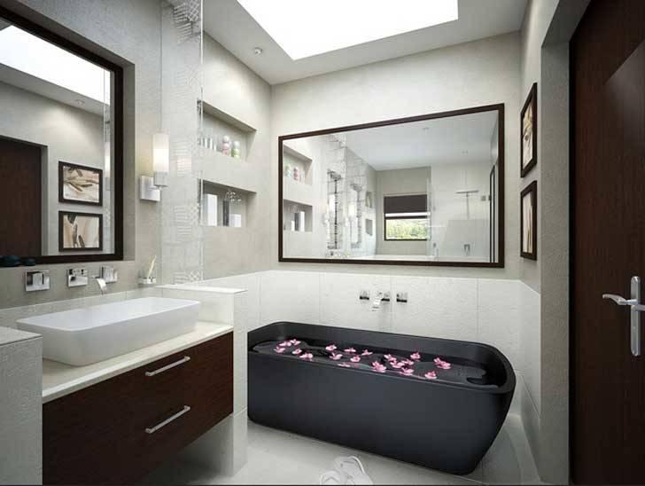 Freistehende Badewanne im modernen Badezimmer | Badeinrichtung Ideen