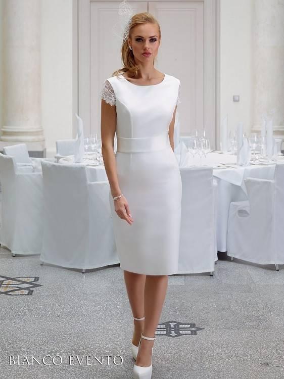 Weiß Brautkleider Spitze Kurz A Linie Etuikleid Hochzeitskleider Günstig