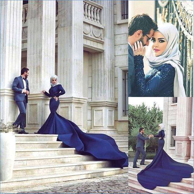 Blau Oyedens Muslim Abaya Dress,Muslimische Kleidung Frauen Muslim  Abaya Dubai Kleider Islamischen Hochzeitskleid Kleid