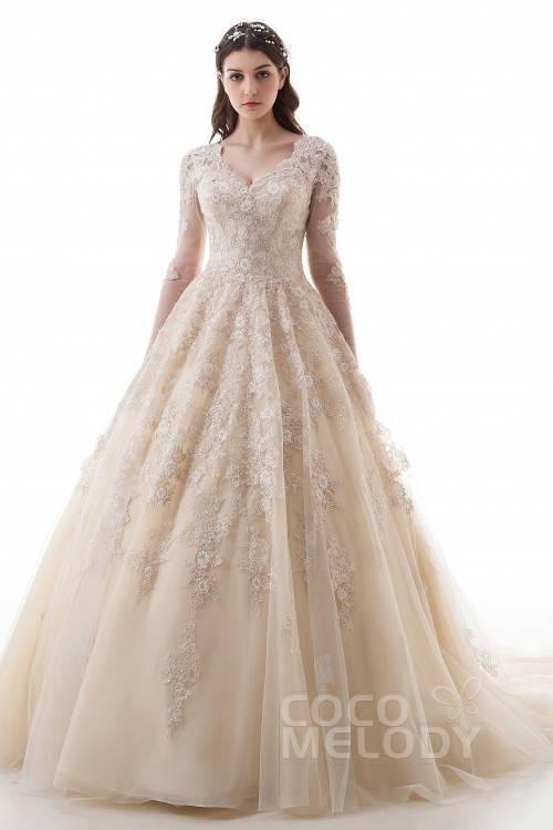 CoCogirls Land Jahrgang Spitze Hochzeitskleider Halbe Ärmel Prinzessin Kleider für Hochzeitskleid Brautkleider: