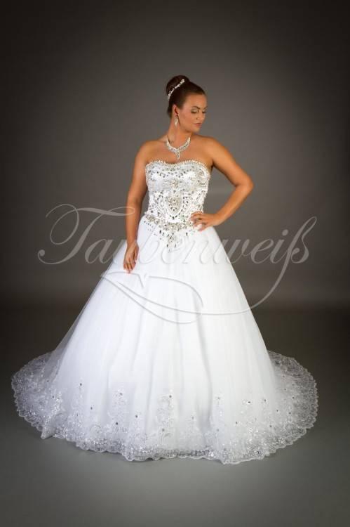 Luxurios Brautkleider Weiß Labg Ärmel Kristall Tüll Prinzessin Hochzeitskleider