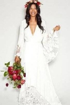 Mingxuerong Hochzeitskleid Boho Spitze Lang glitzer Brautkleid Chiffon  Strand: Amazon